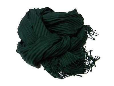 Sciarpa pashmina uomo donna verde scuro plisse tinta unita made in italy