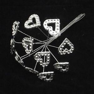Diamante Hearts on Silver Wire x 12 Corsage Bouquet Flower Arrangements Acrylic