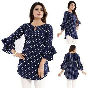 Women-Indian-Kurti-Tunic-Blue-Short-Kurta-Shirt-Dress-Frilled-Sleeves-SC2479