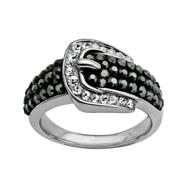 bf1c0cba0 Buckle Ring With Black and White Swarovski Crystal in Sterling ...
