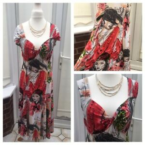 Joseph-Ribkoff-Crossover-Front-Faces-Print-Stretch-Dress-Fit-Flare-Stunning