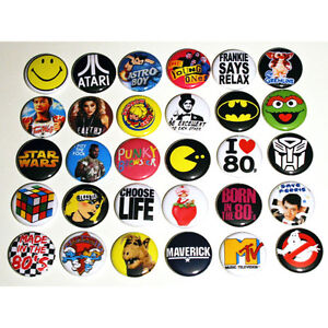 ICONIC-80s-PARTY-BADGES-Badges-Buttons-Pinbacks-Pins-x-30-Size-25mm-1-034-1980s