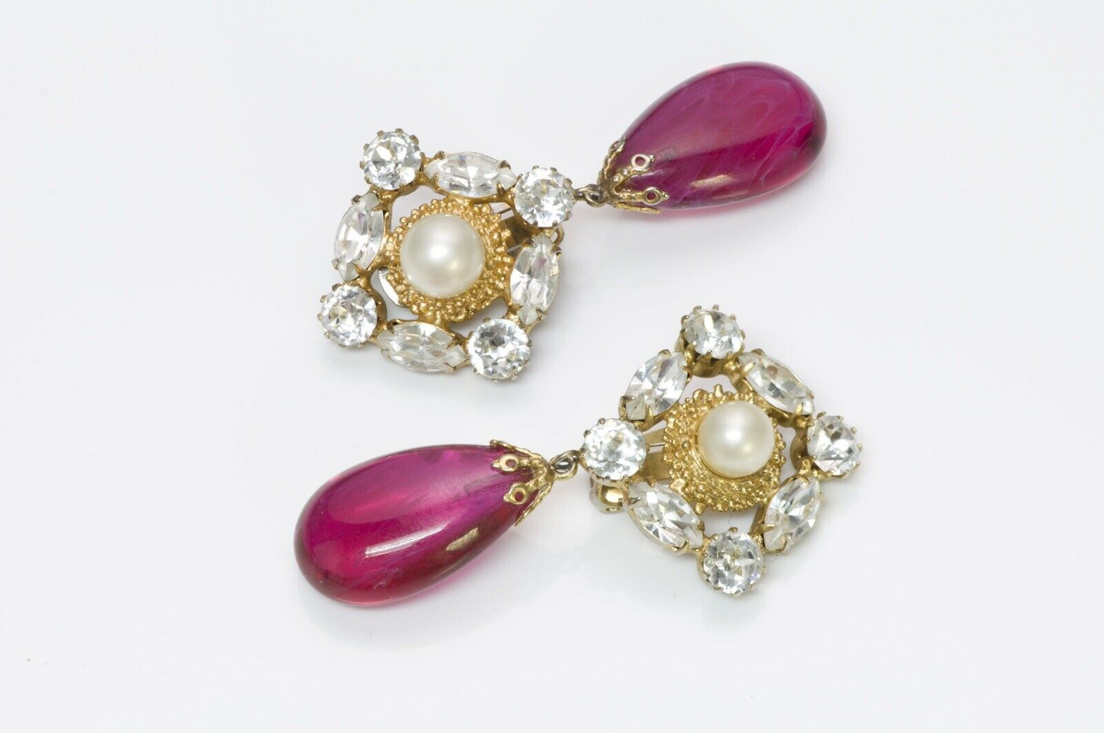 Arnold Scaasi Couture Crystal Pink Glass Earrings - image 2
