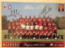A.C. MILAN CALCIO CARTOLINA UFFICIALE SQUADRA CON AUTOGRAFI ORIGINALI 2000-2001