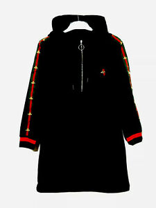 Black Velour  hoodie Jacket With Red And Green Trim