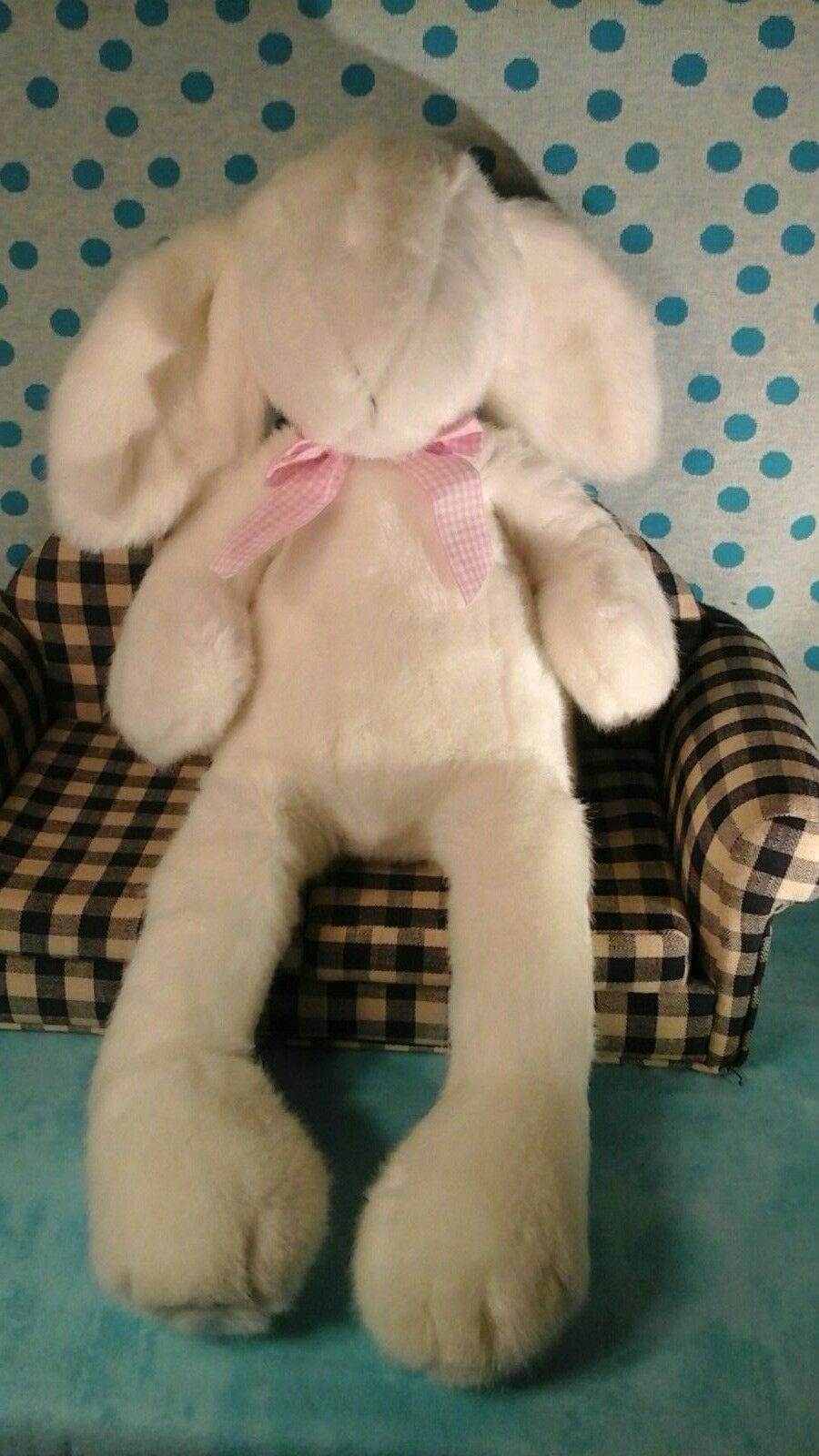 NWT NEW Manhattan Toy blancoo Rabbit floppy Bunny 21  Plush Toy 2000 rosadodo bow
