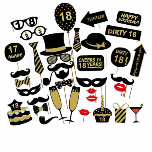 16//18//21st//30//40//50//60th 36pc Birthday Party Photo Booth Props Stick Photography