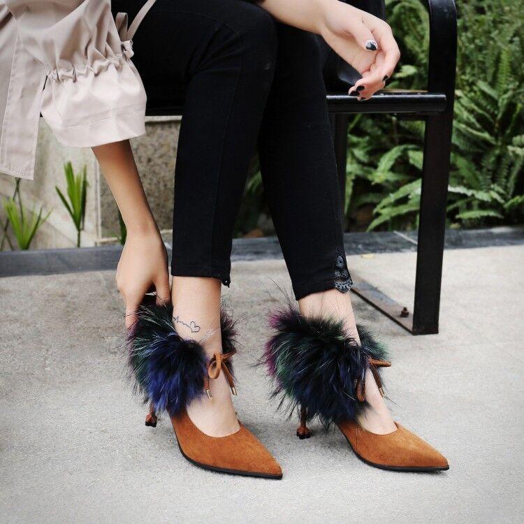 Mujer Mujer Mujer Tobillo Pelusa tacones altos en Punta con Cordones Zapatos Informales Bombas De Gamuza Nuevo  suministro de productos de calidad