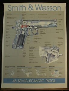 Smith & Wesson .45  Semi Automatic Pistol Poster of Parts Vintage Great Learning