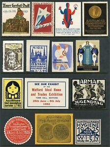 L'europe Affiche Timbres-événements Et Expositions - 14 Différents 1911-1952 (#1805)-afficher Le Titre D'origine ProcéDéS De Teinture Minutieux