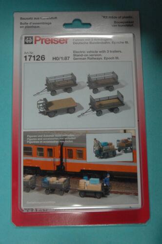 Preiser 17126 Elektrokarren mit 3 Anhängern Deutsche Bundesbahn Bausatz HO NEU