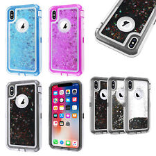 For iPhone XS MAX XR Glitter Liquid Defender Clear Bling Quicksand Case Cover