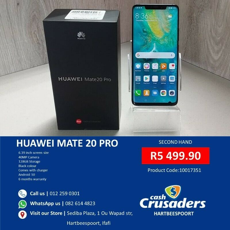 HUAWEI MATE 20 PRO BLACK - Ad By Cash Crusaders Hartbeespoort