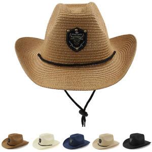 Men Women Soft Straw Western Hat Cowboy Sunhat Sunbonnet Cap Summer ... 64a9b3a76f25
