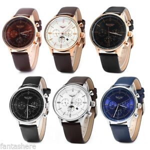 GUANQIN-Luxury-Men-039-s-Leather-Band-Sport-Automatic-Mechanical-Steel-Wrist-Watch
