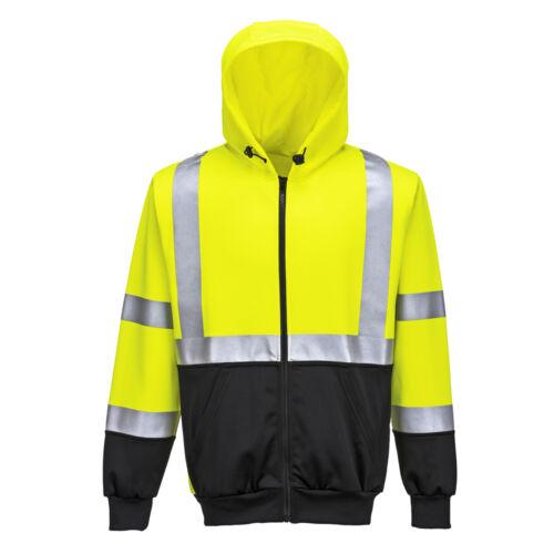 Portwest Men Hi-Vis Two-Tone Zipped Hoodie Yellow//Black Various Size B315