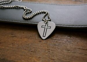 Hand Made Etched Guitar Pick Necklace Cross