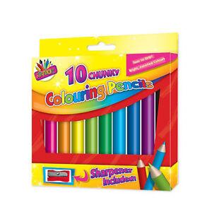 10 Chunky Crayons Bright Couleurs Assort Easy Grip & Sharpener-afficher Le Titre D'origine éLéGant Et Gracieux