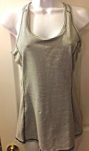 5ac9bb9996ae8 Women s KYODAN Striped Tank Top Gray White Shelf Bra RacerBack Run ...