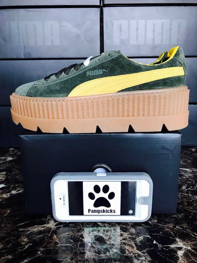 Puma Fenty by Rihanna Cleated Creeper Suede Green 366268-01 Femme Taille 7.5
