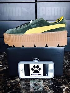Details about Puma Fenty by Rihanna Cleated Creeper Suede Green 366268 01 Women's Size 7.5 10