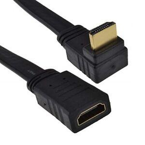 0-5M-HDMI-Cable-plano-de-90-grados-de-angulo-Derecho-Enchufe-Hembra-Extension