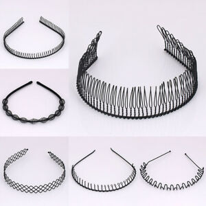 Unisex-Men-Women-Sports-Wave-Comb-Hair-Band-Metal-Hairband-Headband-Hoop-Black