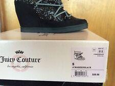 JUICY COUTURE Ladies 8M Glitter 4inch Hidden Wedge Heel  Mareen Bootie Black