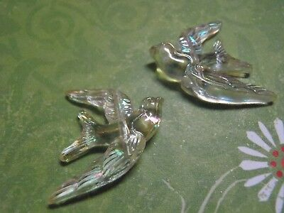 2 Lucite Swallow Bird Beads or cabochons clear iridescent 25x17 mm jewelry craft
