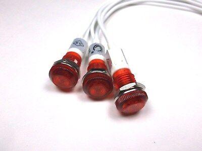 3 BBT 120 volt Red LED Indicator Lights