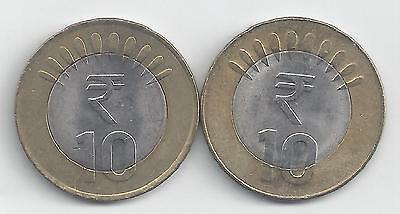 Enthusiastic 2 Bi-metal 10 Rupee Coins From India (both Dating 2012 With Mint Marks Of B & N)