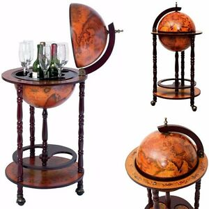 Vintage Globe Mini Bar Cabinet Cart Wine Rack Liquor Whiskey Glass ...