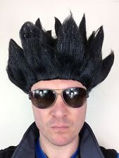 Spikey Spiked Anime Wig Street Fighter Black Fancy Dress Costume Hair