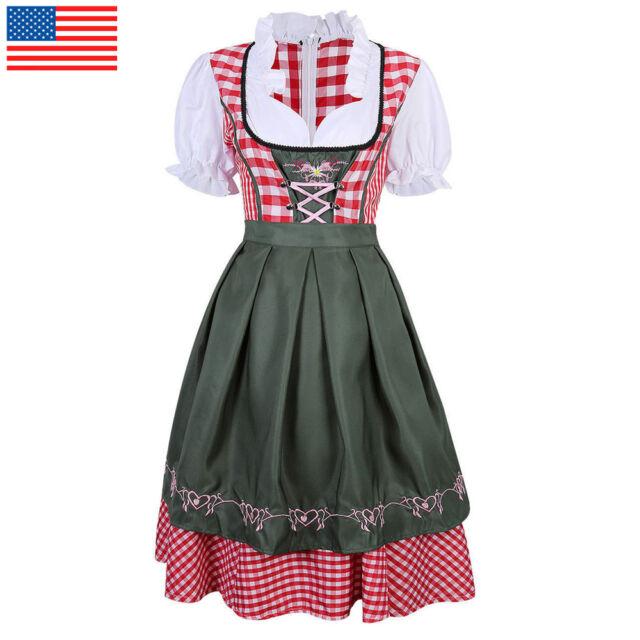 German Traditional Dirndl Trachten Dress Oktoberfest Bavarian Beer Maid Cotume