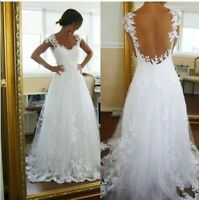 White/Ivory In Stock Bridal Lace Wedding Dresses Gown US Size 4 6 8 10 12 14 16