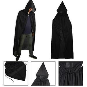 Unisex-Adult-Men-Hooded-Cape-Long-Cloak-Black-Halloween-Costume-Dress-Coats-SY