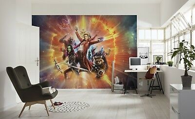 Wallpaper For Boy S Bedroom Guardians Of The Galaxy Wall Mural Marvel Red Orange Ebay
