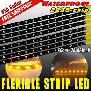 8x-Amber-60CM-2835-Car-Motor-30LED-Strip-Light-Bar-Underbody-DRL-12V-Waterproof