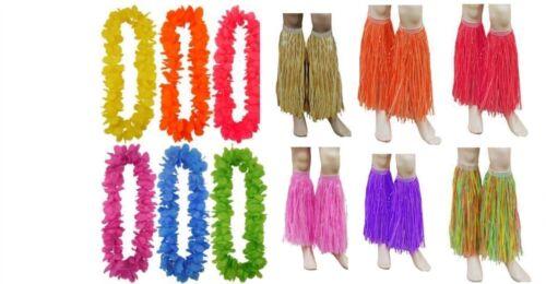 Paglia Hawaiano Hula LEG polsini con Lei Ghirlanda Costume Vestito