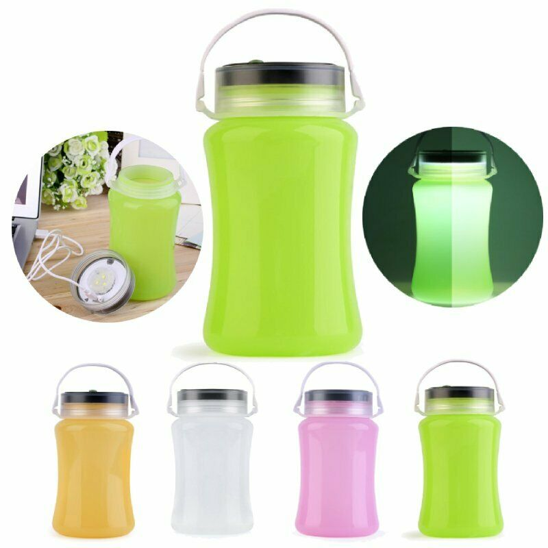 Lot 1-10 USB LED Silicone Lantern Rechargeable Water Bottle With Solar Panel BE