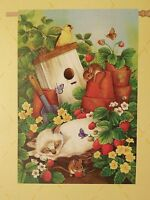 Siamese Cat Naps Beneath Birdhouse In Strawberry Patch With Mouse Garden Flag