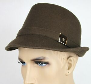 c1cfee3a1 Image is loading New-Gucci-Brown-Wool-Fedora-Hat-w-Light-