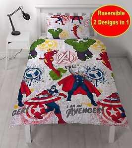 Marvel-Avengers-034-Mission-034-simple-Ensemble-housse-de-couette-Garcons-Enfants