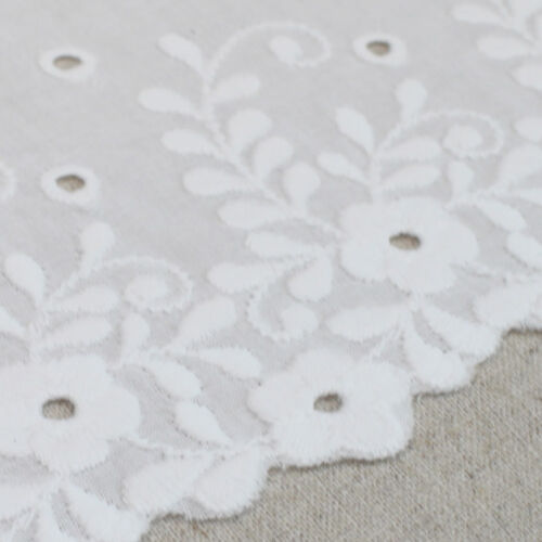 """1Yard Broderie anglaise cotton lace trim Off-White 6.3/"""" 16cm SH37 laceking"""