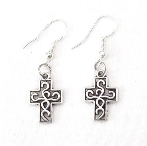 925 ganchos de plata esterlina Vintage irlandés de aleación de plata Pendientes de Cruz Nudo Celta