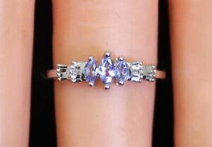 Gorgeous-Estate-10K-White-Gold-1-3-Ct-Marquise-Tanzanite-amp-Diamond-Ring-s6-75