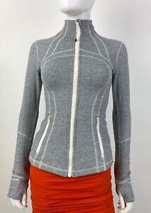 Lululemon 4 US 40 IT S Gray White Stretch Zip Front Jacket Coat Runway Auth Mint