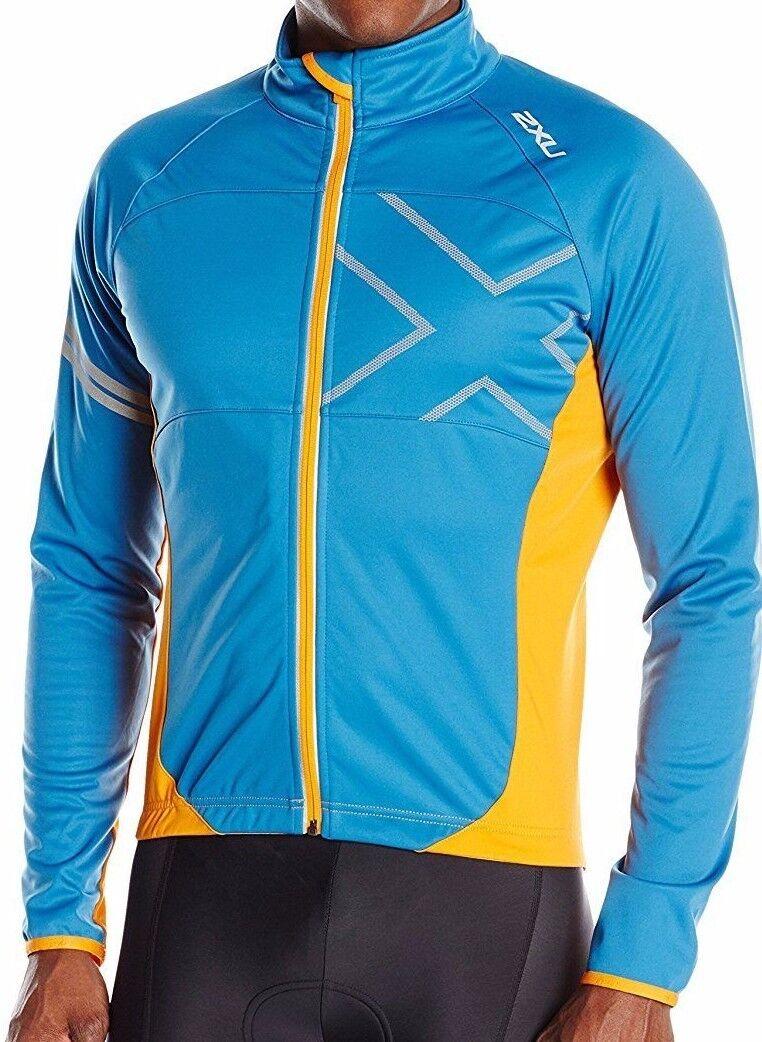 2XU mannen's Wind Break 180 Cycle Jasje XL Cerulean blauw Tangerine X-Groot NWT