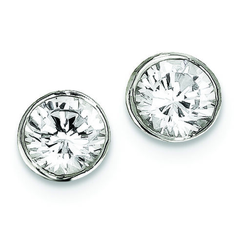 .925 Sterling Silver 8 MM CZ Round Bezel Post Stud Earrings MSRP $70