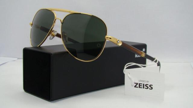 b0571e146e61 Mont Blanc 519S 30N Gold Aviator Sunglasses CARL ZEISS Green Lenses Size 61